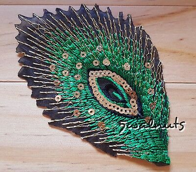 GOLD Black Green Iron on Sequin Embroidered PEACOCK Feather Patch Applique Motif