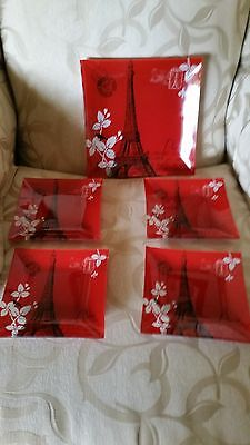 Lovely red Glass Paris Plate and 4 smaller plates