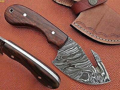 Custom Hand Made Damascus steel Hunting Gut Hook Knife With Rose Wood Handle.
