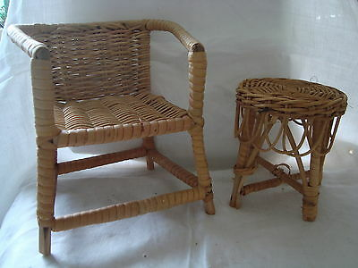 Cane Chair and Table - suit doll / bear setting