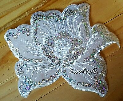 White Iron on Transfer Peony Rose Flower Sequin Embroidered Patch Applique Motif