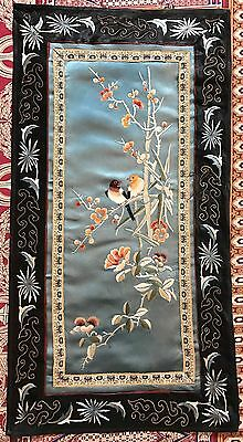 """Antique Chinese Panel Wall Hanging Hand Embroidery On Silk Art Textile 14"""" X 26"""""""