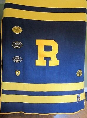 Rare RALPH LAUREN RUGBY Stadium Blanket by Pendleton Wool Patches Classic Style