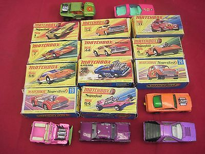 Job Lot Vintage Matchbox Lesney Superfast Diecast Cars Boxed & Unboxed