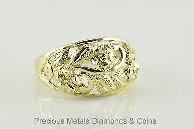 10k Yellow Gold Diamond Cut Flower Leaf Pattern Tapered Band Ring Sz: 7