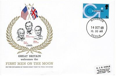 GB FDC Great Britain Welcomes First Men on Moon - Windsor CDS 14/10/1969
