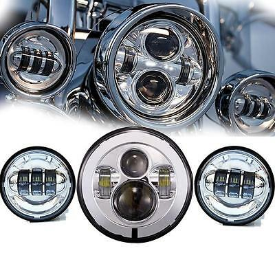 "7"" Chrome LED Projector Daymaker Headlight + Passing Fog Lights Harley Touring S"