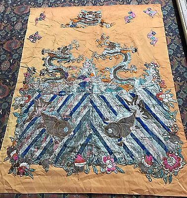 "Antique Chinese Wall Hanging Panel Hand Embroidery Qing Dynasty 35""X 46"""