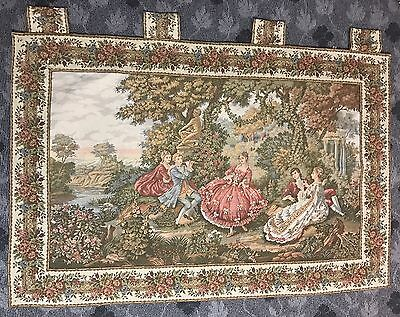 Antique French Wall Hanging Tapestry - 102 X 140 Cm