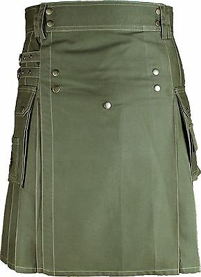 Scottish Men Utility kilt Cargo 100% Olive Green Cotton Adult Custom HandMade