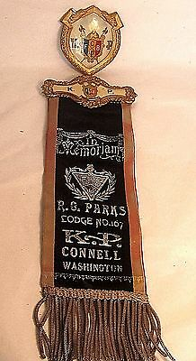 Antique KNIGHTS OF PYTHIAS Member Medal Pin w Ribbon CONNELL, WASHINGTON