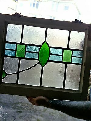 Pair of fabulous vintage lead light stained glass windows circa 1922