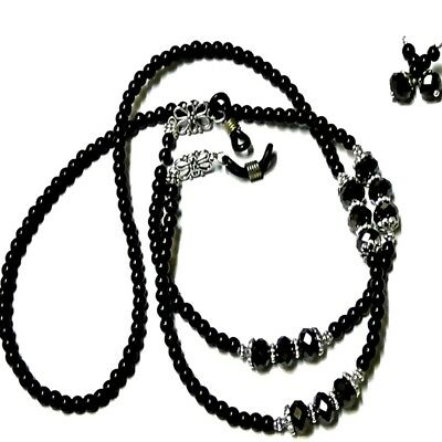 Reading glasses, chain lanyard holder and earrings - Black pearl and crystal