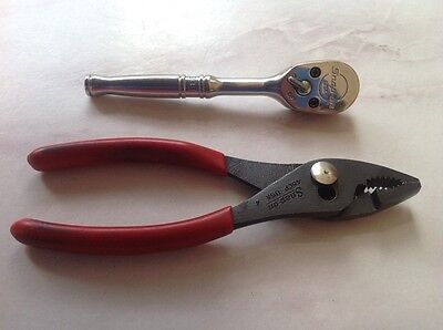 Snap On Tools Short Ratchet 1/4 Drive (T936) & Slip Joint Pliers (45Cp)