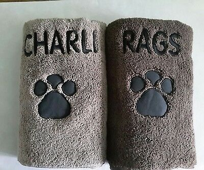 Personalised Dog/cat/pet/microfibre Towel  Available In Either  Brown Or Fawn