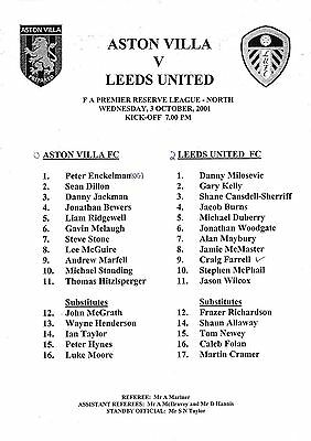 Teamsheet - Aston Villa Reserves v Leeds United Reserves 2001/2