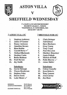 Teamsheet - Aston Villa Reserves v Sheffield Wednesday Reserves 2001/2