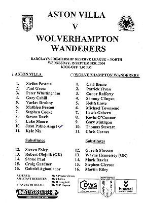 Teamsheet - Aston Villa Reserves v Wolverhampton Wanderers Reserves 2004/5