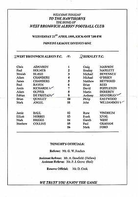 Teamsheet - West Bromwich Albion Reserves v Burnley Reserves 1998/9