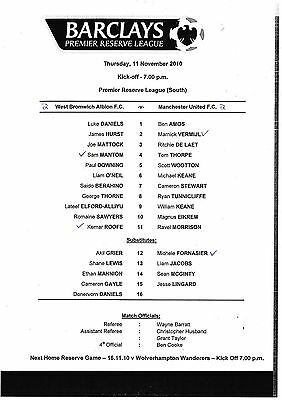 Teamsheet - West Bromwich Albion Reserves v Manchester United Reserves 2010/11