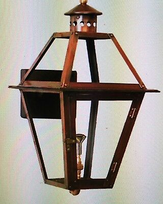 """21""""New Orleans Copper Lantern Gas/Electric Light Fixture, Mounting Bracket $395"""