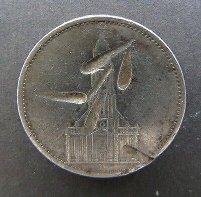 GERMAN 5 REICHMARK COIN 1935 1st ANNIVERSARY OF NAZI RULE 0.900 SILVER DEFACED