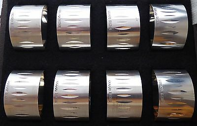 Boxed Set 8 Hallmarked 1966 Solid Silver Napkin Serviette Rings