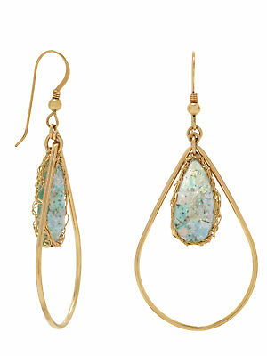 Ancient Roman Glass Earrings Teardrop Shape Gold-filled with Wire Mesh