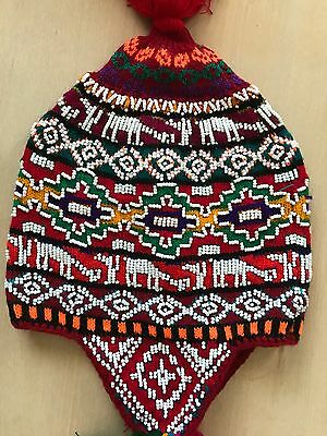 Peruvian Chullo Hat With Beads Multicoloured Rave Festival  Hand Made ^13