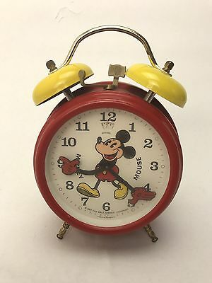 Disney Mickey Mouse Avronel Wind-up Alarm Clock Red & Yellow 1987 German made