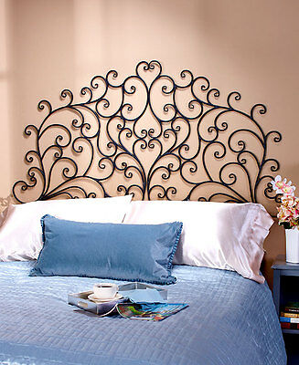 Scrolled Black Wrought Iron Wall Mount Headboard Queen OR King Medallion Grille