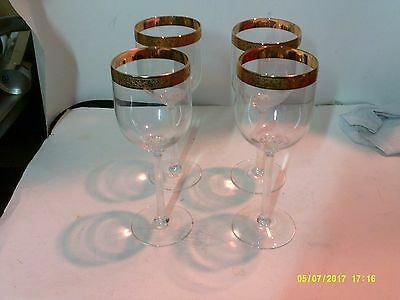 """4 Lenox Crystal 8 3/8"""" Stemware Water Goblets Autumn Wide Band Pattern"""