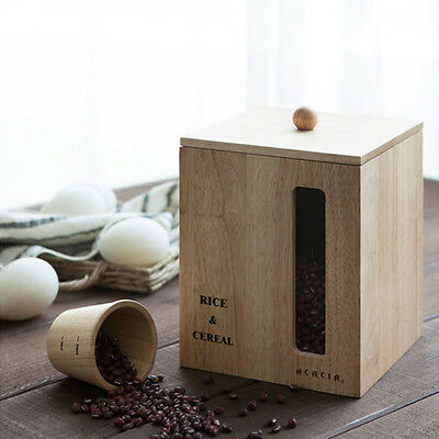 Wooden Cereal Rice Dry Food Storage Container Canister Keeper Dispenser