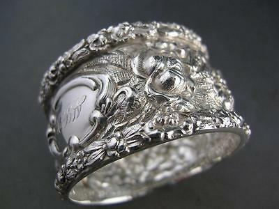 Antique Sterling STIEFF Napkin Ring STIEFF ROSE floral repousse