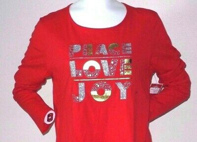 PEACE LOVE JOY Christmas T-SHIRT Tee WOMEN'S SIZE LARGE NEW WITH TAG!