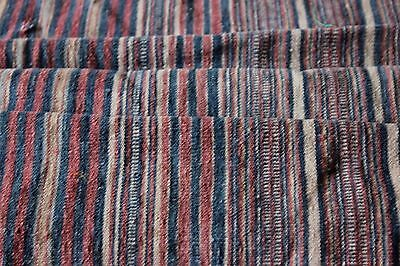 Antique Hand Woven 19thC Indigo & Rust Stripe Home Fabric~French Or Moroccan