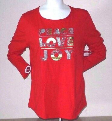 Peace Love Joy Glitter Graphic Tee Women's Plus Size 2X New With Tag!