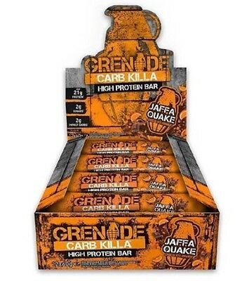 GRENADE CARB KILLA 3-6-12-24 BARS HIGH PROTEIN, LOW CARBS. JAFFA QUAKE Flavour