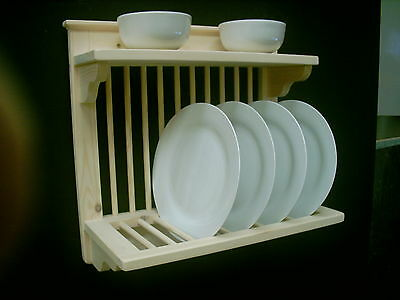 WOODEN HANDMADE PLATE RACK WALL MOUNTED P&P included