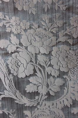Antique 19thC French Blue Lyon Woven Silk Damask Sample Textile Fabric