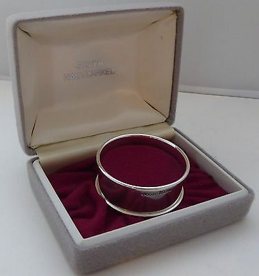 Boxed Hallmarked Solid Silver Napkin Ring Harman Brothers 1986 Christening Gift