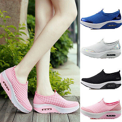 Women's Platform Shoes Lace UP Shape Ups Toning Fitness Sports Sneakers Walking