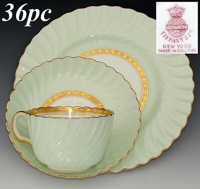 "Vintage Minton Tiffany & Co Somerset 36pc Tea Cup, Saucer & 8"" Dessert Plate Set"