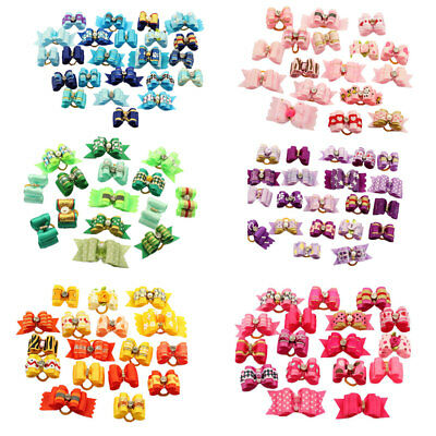 New Assorted Rhinestone Ribbon Pet Hair Bows Dog Cat Puppy Grooming Accessories
