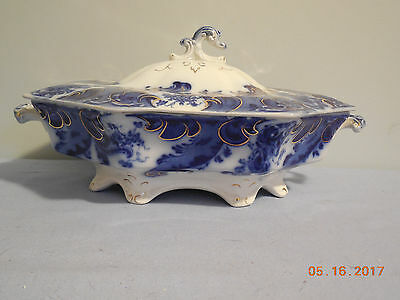"""Argyle Flow Blue 11 1/8"""" Covered Vegetable Dish By Grindley"""
