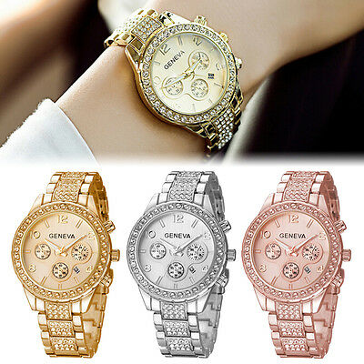 Geneva Women's Crystal Stainless Steel Quartz Analog Date Wrist Watch