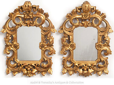 Antique Rococo Italian PAIR Hand Carved Gilded MIRROR Gold Ornate Giltwood Gesso