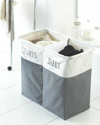 Foldable Bin Bags Section Basket Double Laundry Sorter Hamper Light & Dark