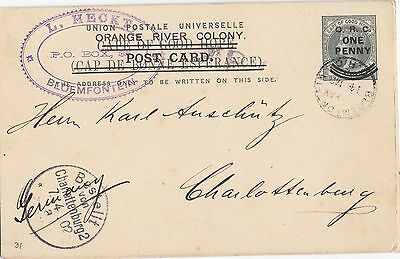 ORC Boer War neat censored 1902 postal card, H&G 31, Bloemfontien to Germany