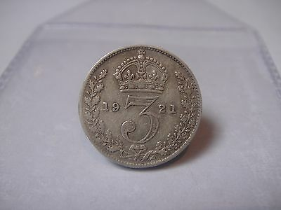 1921 - Silver - 3d Three Pence - Great Britain - King George V - English UK Coin